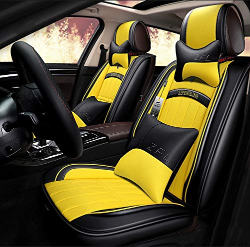 New Cushions Leather Front And Rear Seat Covers,Universal 5 Seats Car Waterproof Leather Car Seat Covers Protector Adjustable,yellow: