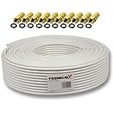 PremiumX Câble coaxial pour antenne satellite FullHD, 3D et HDTV 1080 pixels, 4 blindages, 130 dB, 25 m + 10 connecteurs 7,5 mm plaqués or inclus