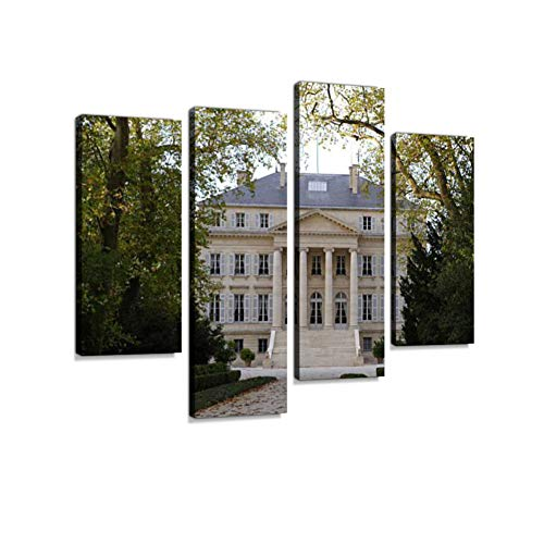 Margaux Bordeaux Chateau (Chateau Margaux Canvas Wall Art Hanging Paintings Modern Artwork Abstract Picture Prints Home Decoration Gift Unique Designed Framed 4 Panel)