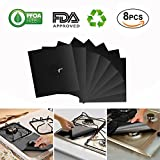 DOLDOA 8 Pack Gas Stove Burner Covers,Double Thickness Gas Hob Range Protectors,FDA Approved,Reusable,Non-Stick,Non-toxic Eco Friendly,Easy to Clean Liners,Dishwasher Safe,Heat-resistant,10.6' x 10.6'