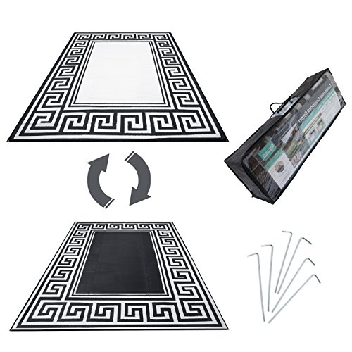 R.v. Patio Mat Awning Mat Outdoor Leisure Mat New Grecian Complete Kit (Silver,9×18)