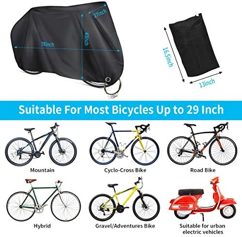 KOXUIUF Bike Cover,Anti-UV Bike Covers Outdoor Storage Waterproof with Lock Hole Storage Bag for Mountain Road Cruiser Bike Storage Protection from All Weather Conditions for Mountain & Road Bikes
