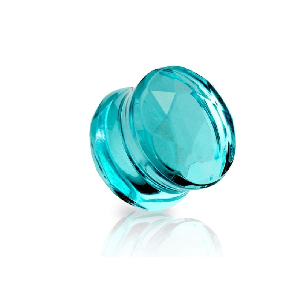 Freedom Fashion Faceted Glass Cut Double Flared Plug (Sold by Pair) (00GA, Turquoise) by Freedom Fashion