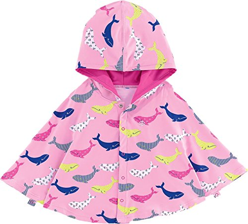 Coolibar UPF 50+ Baby Girls' Hooded Beach Cover-Up Poncho - Sun Protective (12-24 Months - Pink Whale) (Poncho Baby Girl)