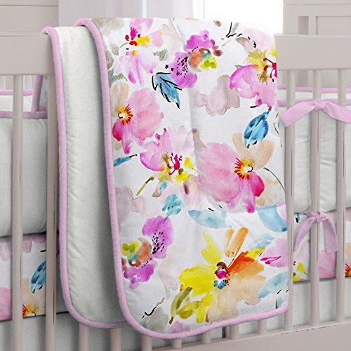 Carousel Watercolor Floral 3-Piece Crib Bedding Set