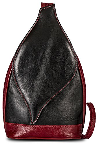 Real Small Leather Black Womens Italian Shoulder Duffle Backpack LIATALIA Rucksack Red KIM Bag BfEOw5xqx