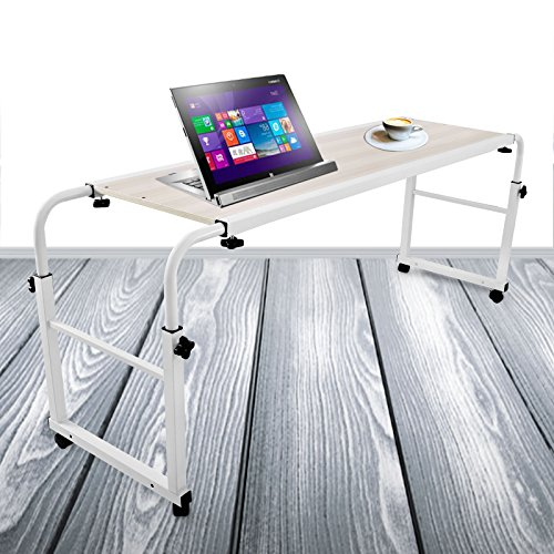 Superland 39 Inch Laptop Table 1M Rolling Table Food Tray Desk Piano Lacquer Hospital PC Adjustable with Wheels Desk for Must (1M)