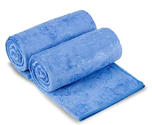 JML Microfibre Bath Towels 2 Pack, Oversized Microfiber Towels(30 x 60), Soft and Super Absorption Multipurpose Towels for Bath, Beach, Pool, Sport - Blue Floral Pattern