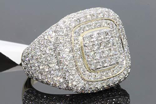 Peony.t 18K Gold Plated Men's Full Drilling Diamond Ring Square Pattern