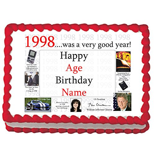 1998 21st Birthday Custom Edible Image (Each) by Partypro