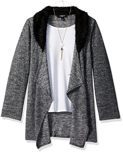 Price comparison product image Amy Byer Big Girls' Long Sleeve Drape Front Cozy Cardigan With Faux Fur Collar, Heather Grey, Small