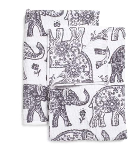 Casaba Elephant Hand Towels and Washcloth Set of 6 Ornate Gray and White Animal Print Cotton