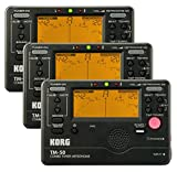 Korg TM-50 Combination Instrument Tuner and Metronome - Black - 3-Pack