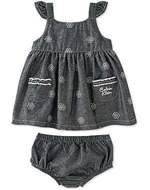 Baby Girls 2-Piece Dress & Diaper Cover Set