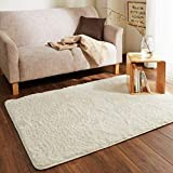 LGXH Fluffy Anti-Skid Shaggy Area Rug 1.97'x6.56' Soft Modern Shag Rug Living Dining Room Carpet Cozy Solid Rugs White
