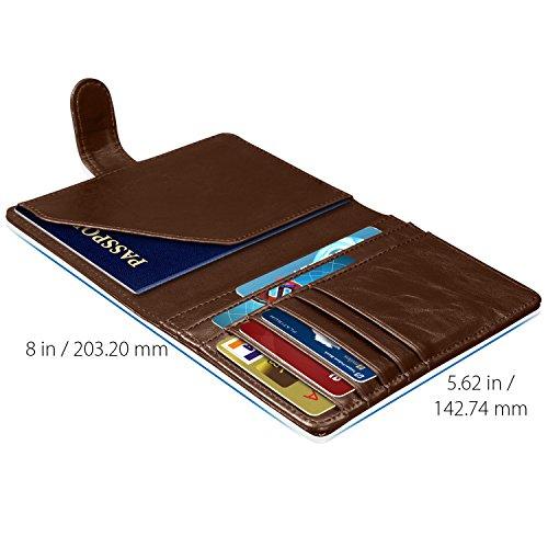 RFID Blocking Passport Holder (9 Slots), GreatShield Theft Proof Leather Wallet [5 Credit Card Slots | 3 Cash Compartments | 1 Passport Slot] for Men & Women – Brown by GreatShield (Image #2)