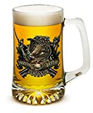 Beer Mugs with Handles – US Marine Corps Tankard Beer Mug – Devil Dog First In Last Out Marine Gifts for Men or Women – Beer Glasses with Logo – Set of 2 (25 Ounces)