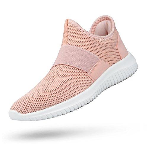 (Troadlop Womens Sneakers Lightweight Breathable Mesh Slip On Casual Tennis Shoes Athletic Walking Running Sneakers Pink 7.5 B(M) US)