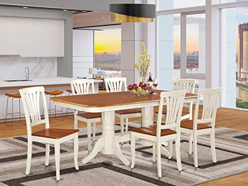 7 PC Dining room set-Dining Table with Leaf and 6 Dining Chairs