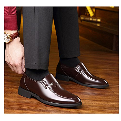 DeLamode Men Old People Leather Shoes Business Foot Sapatos Father Gifts Brown-38 by DeLamode (Image #6)