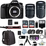 Canon EOS Rebel 80D Bundle With 18-135mm USM & EF-S 55-250mm IS STM Lenses + Canon 80D Camera Advanced Accessory Kit - Including EVERYTHING You Need To Get Started
