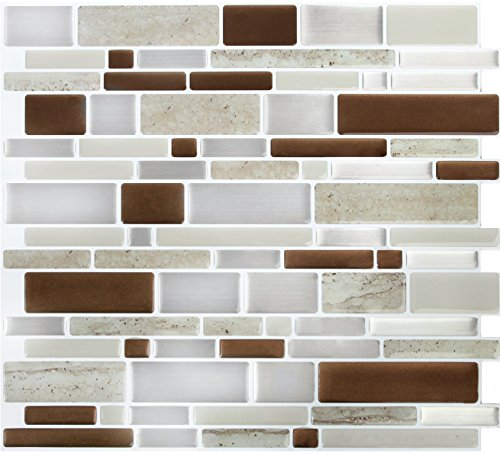 Peel and Impress - Easy DIY Peel and Stick Adhesive Backsplash Tiles, 24070 Brown Stone, Oblong, 11.25