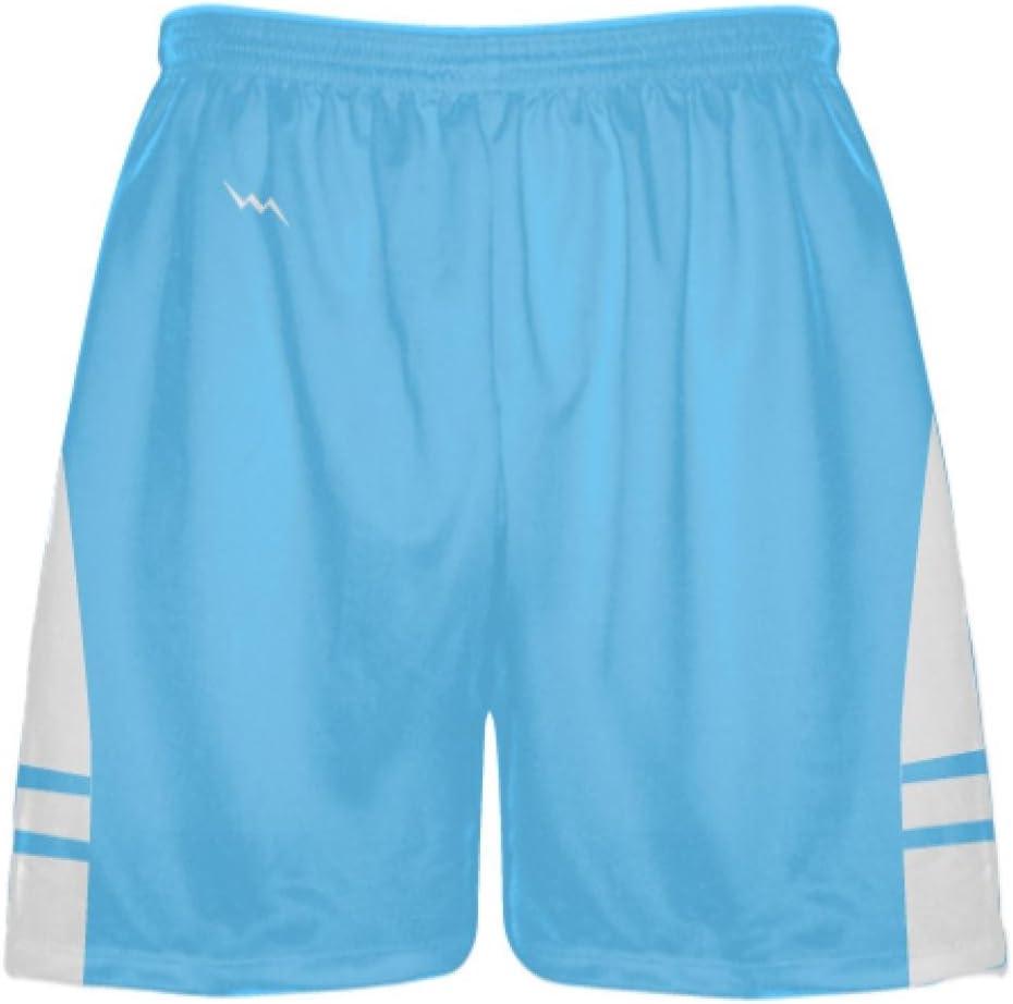 LightningWear Powder Blue White Boys Lacrosse Shorts Mens Lax Shorts
