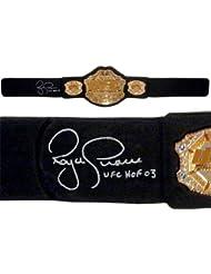 """Royce Gracie Signed UFC Replica HWT Championship Belt""""UFC HOF 03"""" Inscription - Autographed UFC Miscellaneous Products"""