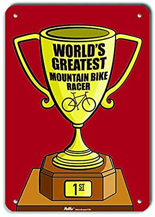 PetKa Signs and Graphics PKWG-0349-NP/_Worlds Greatest Mountain Bike Racer Plastic Sign Trophy Red 10 x 14