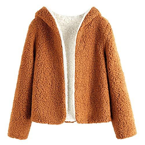 ZAFUL Women's Teddy Coat Fuzzy Fleece Reversible Open Front Hooded Outwear Jacket