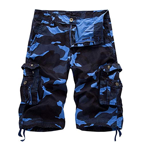 OEAK Men's Outdoor Camouflage Multi Pockets Camo Cargo Shorts Blue 40