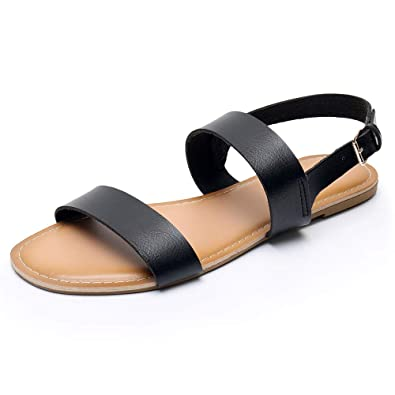 6b7303ef8 Women's Classic Open Toes Two Band Ankle Strap Buckle Flat Sandals Soft  Anti-Slip Summer