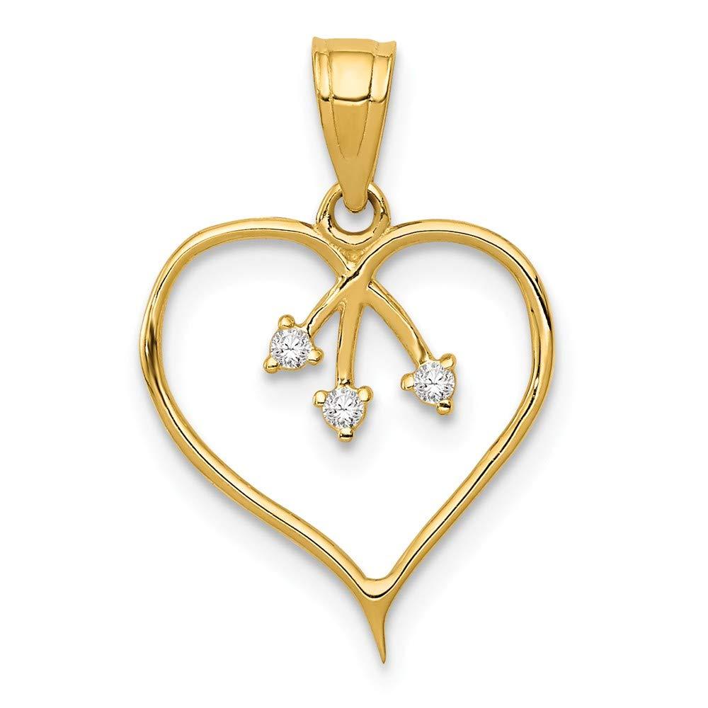 14k Yellow Gold 3-CZ Cut-out Heart Pendant