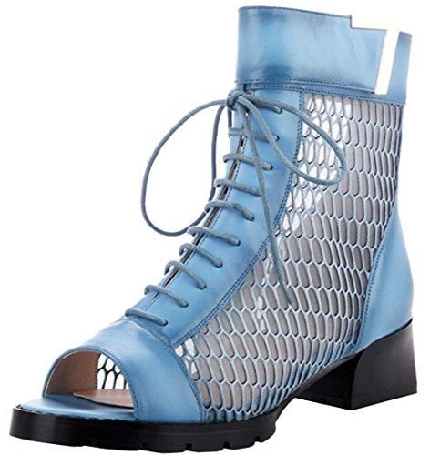 Fashciaga Women's Leather Gladiator Sandals Blue au77iQv1nR