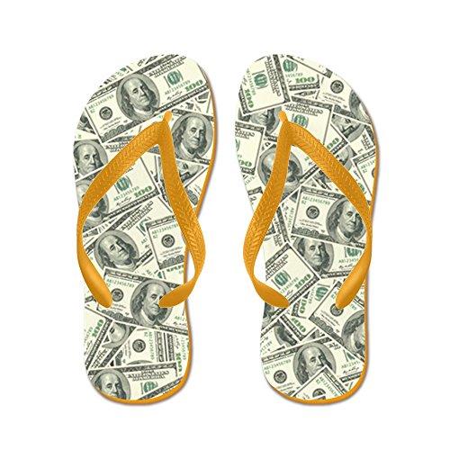 Cafepress 100 Dollar Bill Geld Patroon - Flip Flops, Grappige String Sandalen, Strand Sandalen Oranje