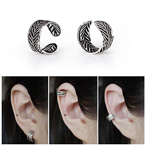 Aifeer 925 Sterling Silver Ear Clip Cuff Wrap Vintage Carved Leaf Flower Earrings Eardrop Non Pierced