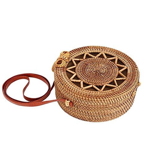 Star Cutout Vintage Bag Five Fashionable Women Beach for Pattern Home Rattan Round Bag Bohemia Shoulder Storage pointed Handmade Bag Style q0IvOxw