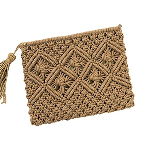 Bag Handbag Clutch Envelope Retro Purse Womens Handmade Summer Green Straw Bag Fringed Army gnv0qHwT