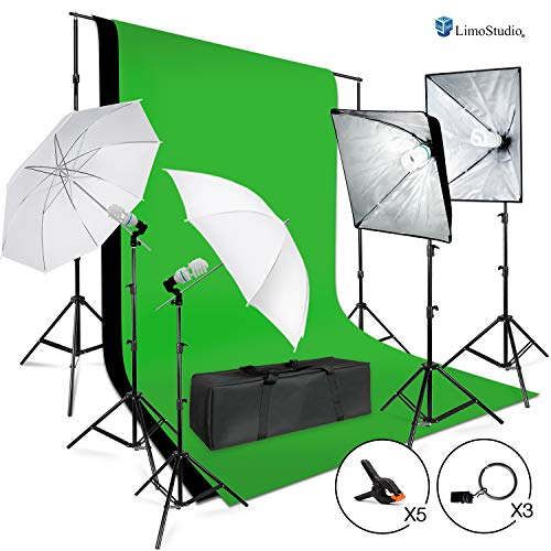 LimoStudio Photo Shooting Kit with Background Support System & Umbrella Softbox Lighting Kit, Photo Video Studio, AGG1388 (Green Screen Photo Software)