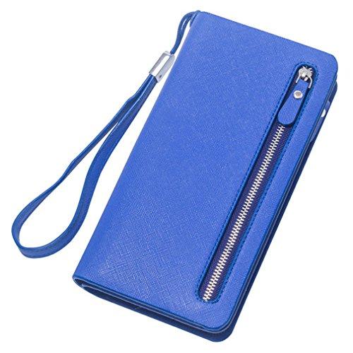 femmes main à à femme main portefeuille Haoling les sac embrayage cuir femme glissière pour sacs Mesdames Dblue téléphone en longue pièce à portefeuilles de monnaie gFqBAxBfYw