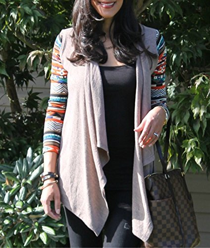 AuntTaylor Ladies Solid Drape Loose Bohemian Poncho Cover Up Tops Khaki 4XL by AuntTaylor (Image #4)