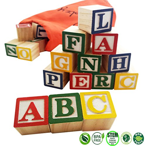 Skoolzy 30 Wood Alphabet Blocks - Stacking ABC Letter Colors Wooden Blocks For Toddlers - Montessori Occupational Therapy Building Toys - Preschool Learning Toys Kindergarten Reading with Travel (Wood Baby Blocks)