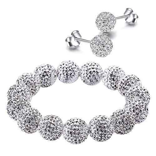 RIVERTREE Jewellery Designer Pave Crystal Disco Ball Clay Beads Shamballa Bracelet & Earring Set - Silver Clear White Elastic 18cm High End Made with Crystal from Swarovski Elements