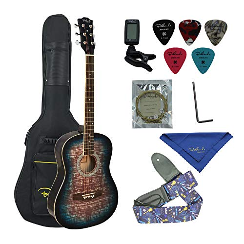 Bailando 38 Inch Acoustic Guitar Starter Kit, Dreadnought Mahogany Body, 6 Steel Strings, Blueburst ()