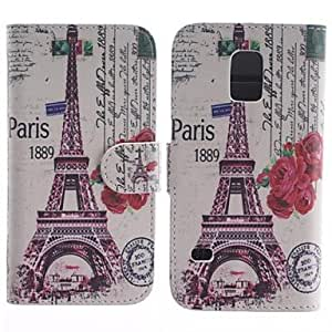 QHY The Eiffel Tower And The Rose Pattern PU Leather Full Body Protective Case with Stand for Samsung S5 Mini G800
