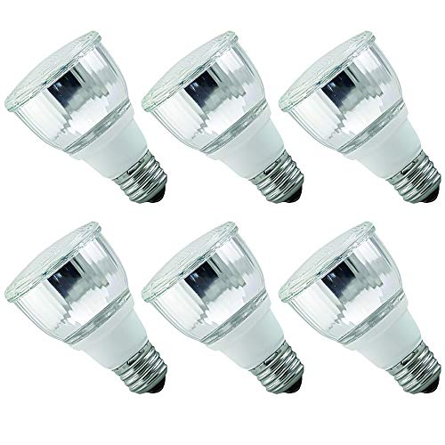 Luxrite LR20130 (6-Pack) 10W PAR20 CFL Light Bulb, Warm White 2700K, Flood Light Bulb, E26 Medium Base