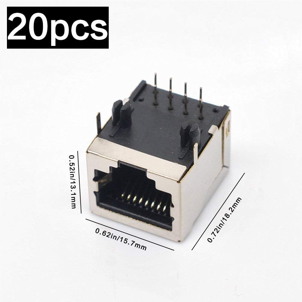 20pcs RJ45 PCB Jack Connectors YILEGOU Forward Pins Shielded Modular Right Angle Pin 8P8C