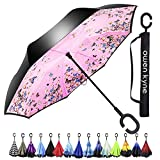 Windproof Double Layer Folding Inverted Umbrella, Self Stand Upside-down Rain Protection Car Reverse Umbrellas with C-shaped Handle (Pink Butterfly)