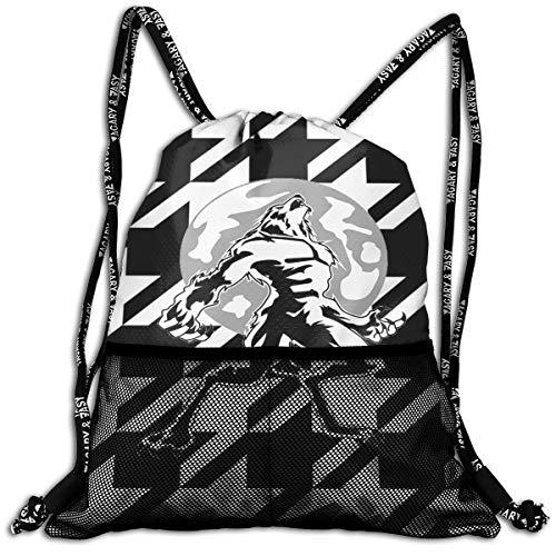 Halloween Werewolf Moon Cool Drawstring Backpack Bags Sport Gym Treat -