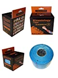 Quickpeak Kinesiology Tape For Sports And Therapy, Therapeutic Sports Tape for Injury, Knee, Shin Splints, Shoulder and Muscle - Water Resistant Uncut Rolls - Light Blue
